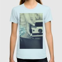 hydrangea  Womens Fitted Tee Light Blue SMALL