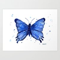 Butterfly Watercolor Blue Painting Art Print