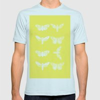 Yellow Moth's; Mens Fitted Tee Light Blue SMALL