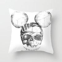Mickey Skull Throw Pillow
