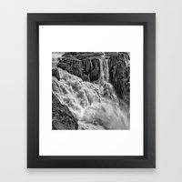 Black and White Beautiful Waterfall Framed Art Print