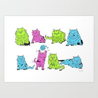 Fluro Cats Art Print