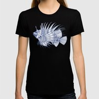 fish mirage blue Womens Fitted Tee Black SMALL