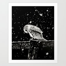 Snowfall at Night (Owl) Art Print
