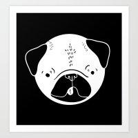Derpy Pug Art Print