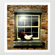 Art Print featuring Roosters On A Ledge  by Chris' Landscape Ima…
