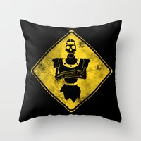 Dragon's Lair Warning Sign Throw Pillow
