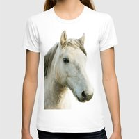 White Horse Portrait Womens Fitted Tee White SMALL