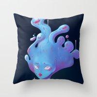 Sad Slime Girl Throw Pillow
