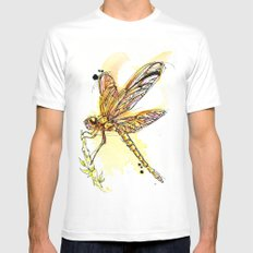 Gold Dragonfly SMALL White Mens Fitted Tee