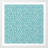 Aqua White Confetti Art Print