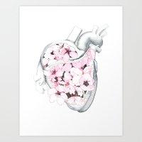 Blossom Burst Heart Art Print