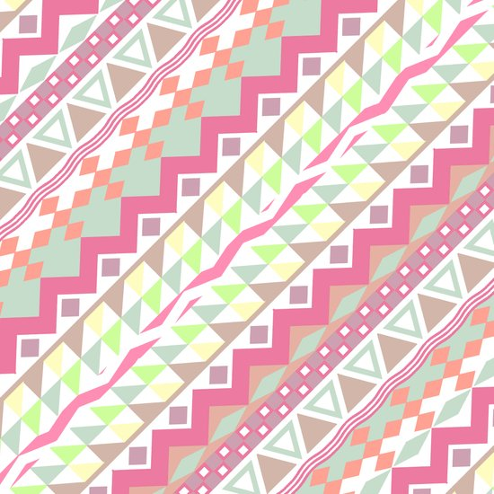 Candy Aztec | Girly Candy Pastel Modern Andes Aztec Pattern Art Print