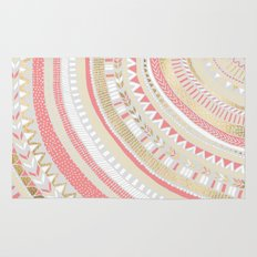 Coral + Gold Tribal Rug
