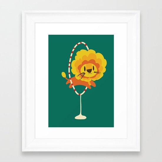 Lion hopped through a loop Framed Art Print