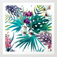 Tropical Watercolor Pattern Art Print