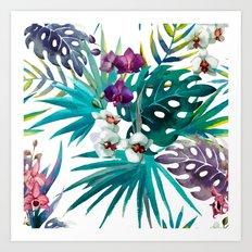 Tropical Watercolor Pattern Art Print