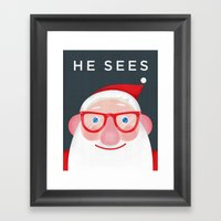 Santa Sees (2) Framed Art Print
