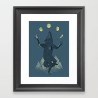 Framed Art Print featuring Moon Juggler by Ilovedoodle
