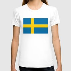 National flag of Sweden Womens Fitted Tee White SMALL