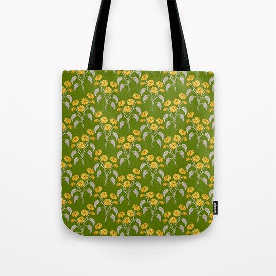 Flowers Green Pattern Tote Bag