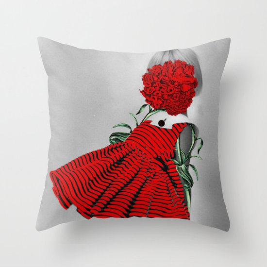 RED CARNATION Throw Pillow