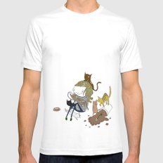 Cat Lady White Mens Fitted Tee SMALL