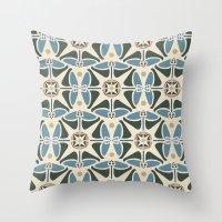Blue Tulips - Circle Pattern Throw Pillow