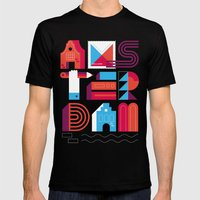 Postcards from Amsterdam / Typography Mens Fitted Tee Black SMALL