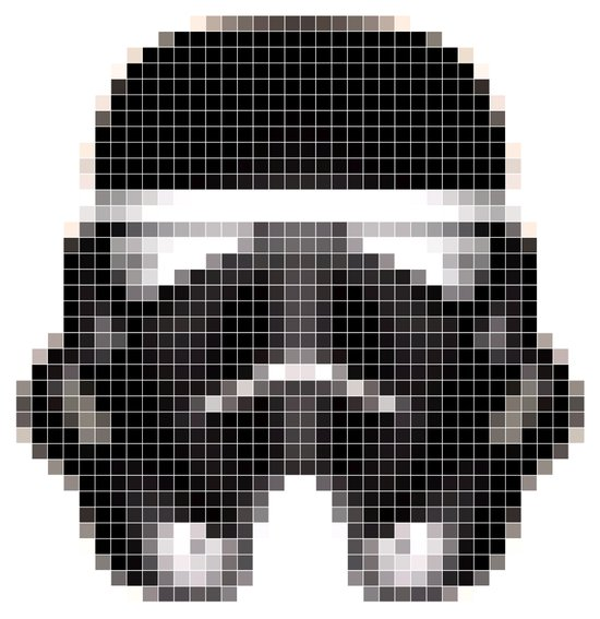 Stormtrooper Helmet Pixel Inverted Art Print