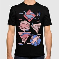 Nineties Dinosaurs Pattern  - Rose Quartz and Serenity version Mens Fitted Tee Black SMALL