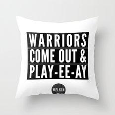 warriors playyeeay Throw Pillow