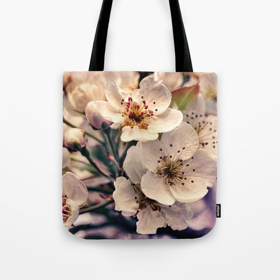 Blossoms at Dusk - vintage toned & textured macro photograph Tote Bag