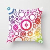Color Cogs. Throw Pillow