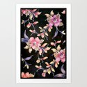 BLACK VINTAGE FLOWERS - for iphone Art Print