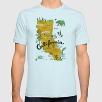 Postcard from California Mens Fitted Tee Light Blue SMALL