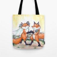 Fox Wedding  Tote Bag
