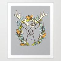 Deer Wreath Art Print