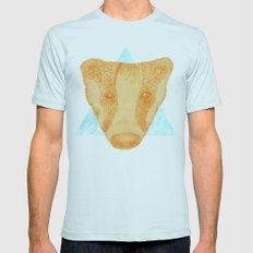 Native Aztec Badger Mens Fitted Tee Light Blue SMALL