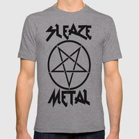 SLEAZE METAL Mens Fitted Tee Athletic Grey SMALL