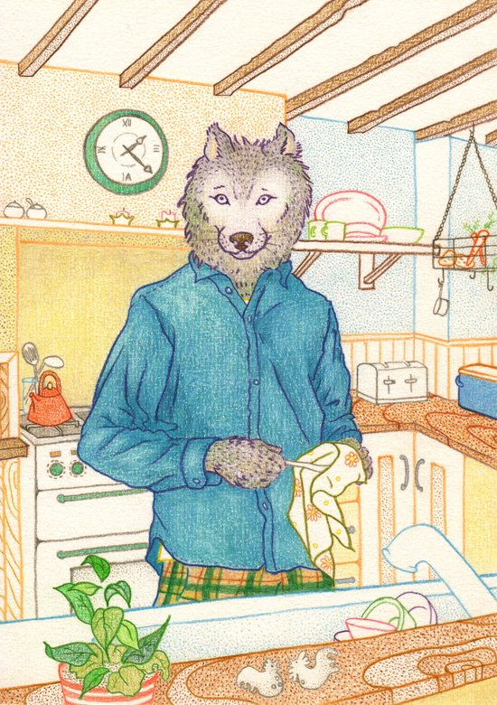 Everyday Animals - Mr Wolf washes the dishes Canvas Print
