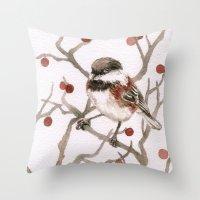 Chickadee & Berries Throw Pillow