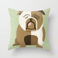 Bulldog - Green Variant Throw Pillow