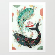 Art Print featuring Lonely Whale by Cdellacioppa