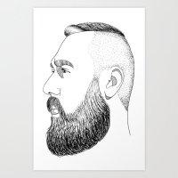 beard gold Art Print