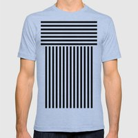 stripes Mens Fitted Tee Tri-Blue SMALL