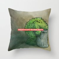 Trashcan : Bubblegum Throw Pillow