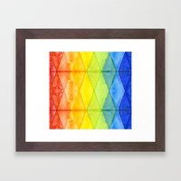 Abstract Rainbow Watercolor Pattern Framed Art Print