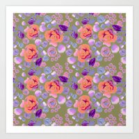 Rosaful rose pattern #Vintage Olive Art Print