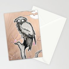 Owl on the branch with a full moon Stationery Cards